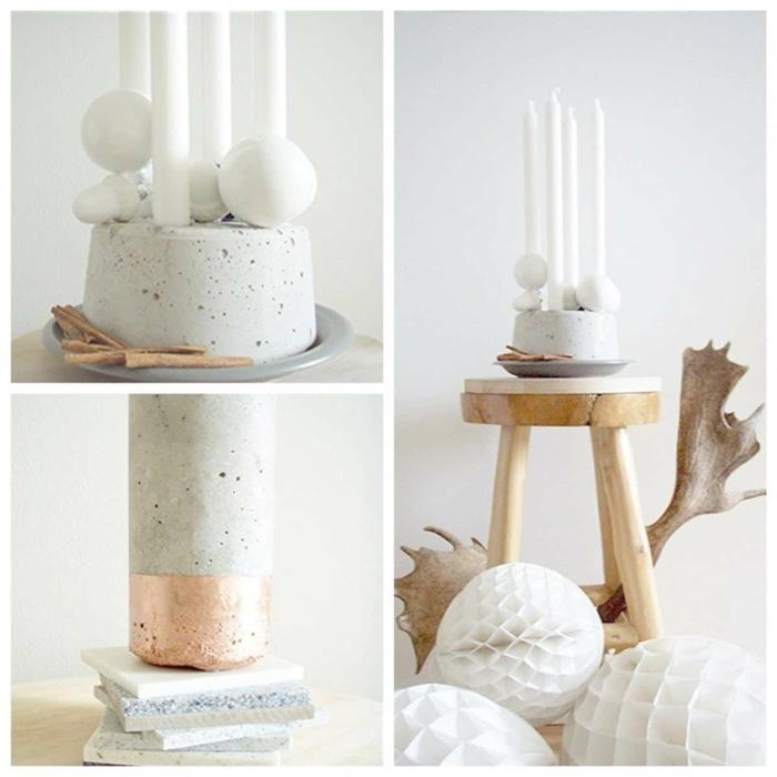 Betonarbeiten selber machen, elegante Dekoration für das Wohnzimmer, Kerzenhalter aus Beton,