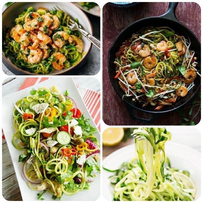 gemüse spaghetti rezepte, zucchini nudeln kochen, leckere gerichte low carb