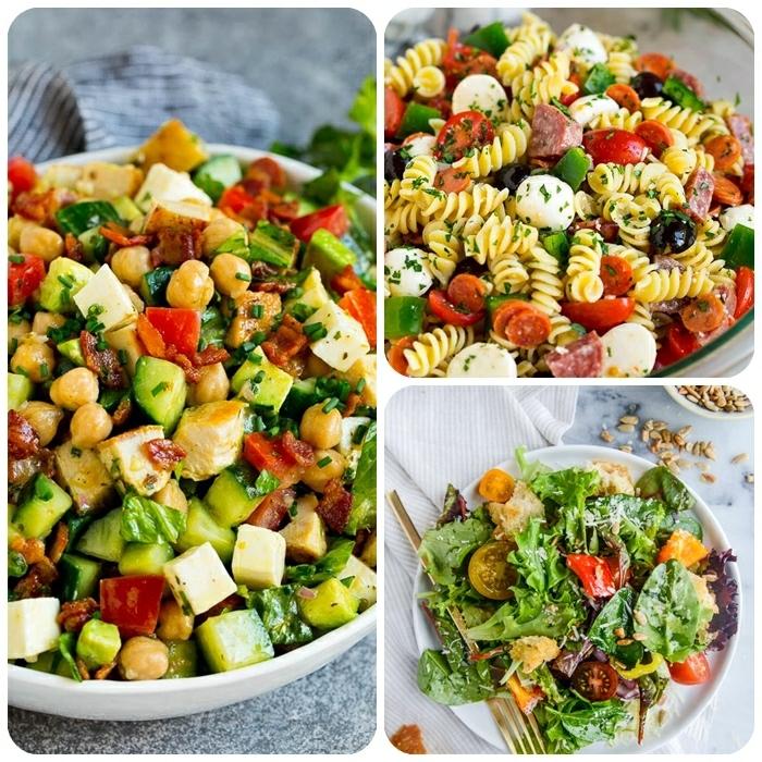 gemischter salat die besten rzeepte, gesundes mittagessen ideen, partysalat mt tomaten und wurst