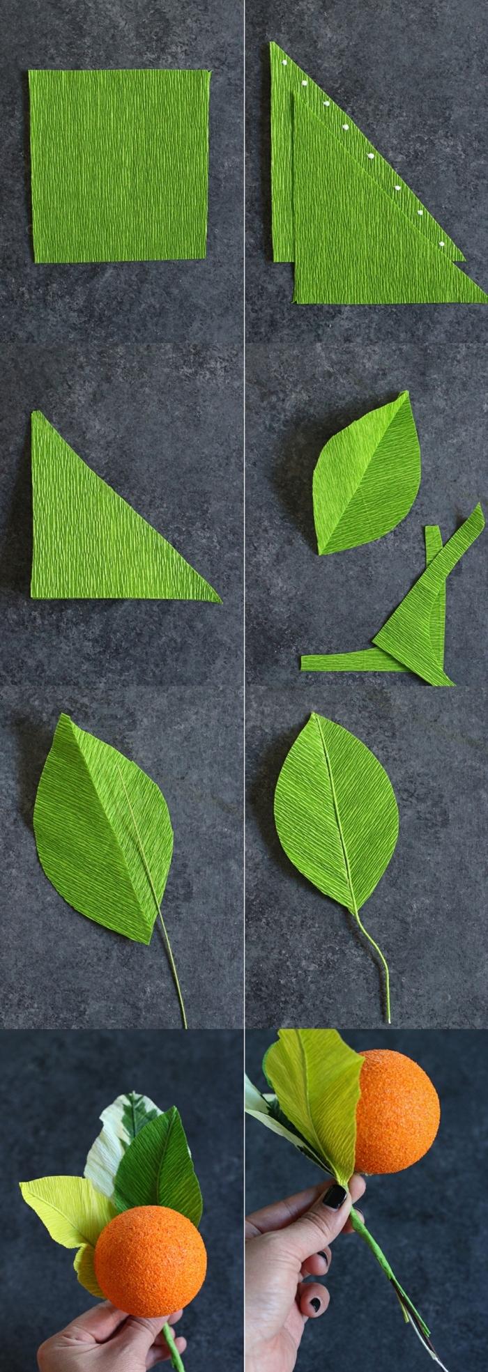 DIY Anleitung zum basteln von grünen Blättern, Deko für die Wohnung selber machen