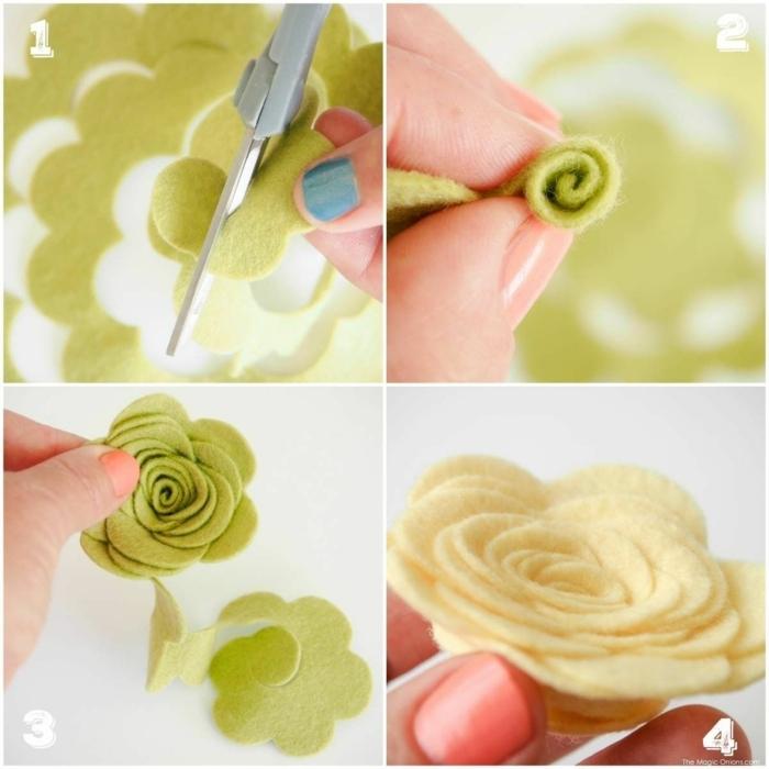 Hand bastelt grüne und weiße Blume aus Filz, Deko für die Wohnung selbst basteln, DIY Collage