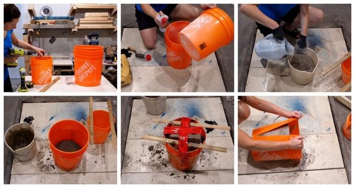 Frau mischt Beton in einem großen orangen Eimer, Beton Blumentopf, schöne Übertöpfe für Drinnen