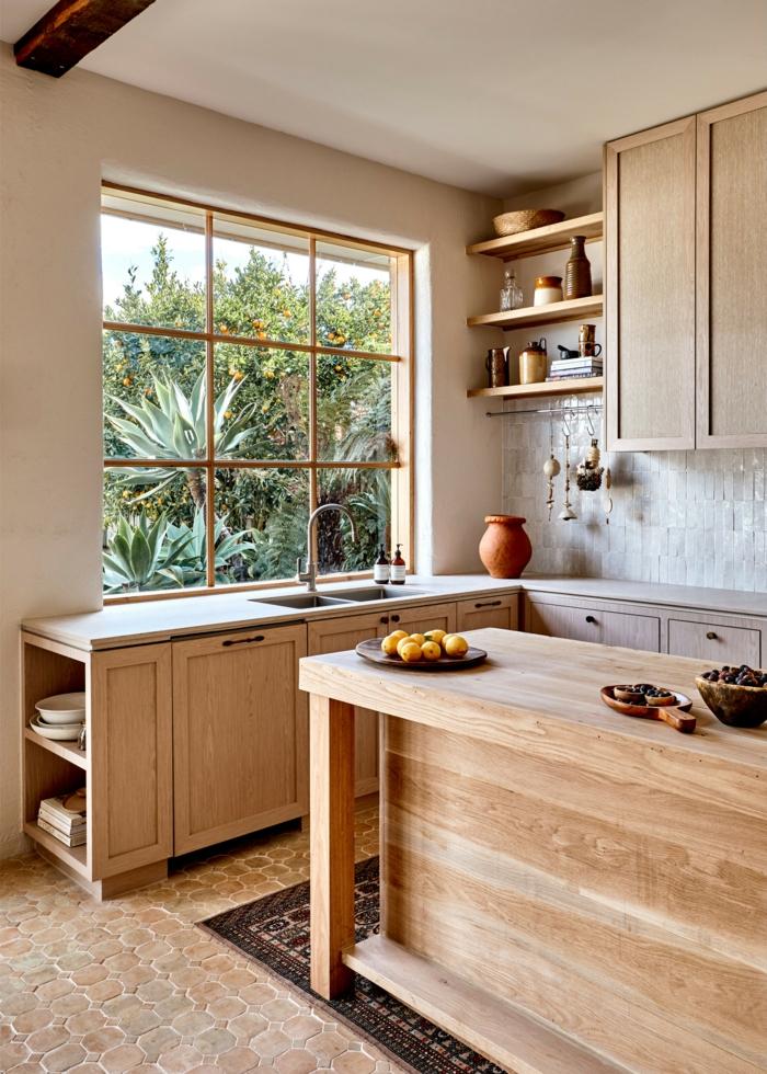 Inneneinrichtung im rustikalen Stil, Küche l Form mit Kücheninsel, Küche dekorieren Tipps, Minimalistisches Design