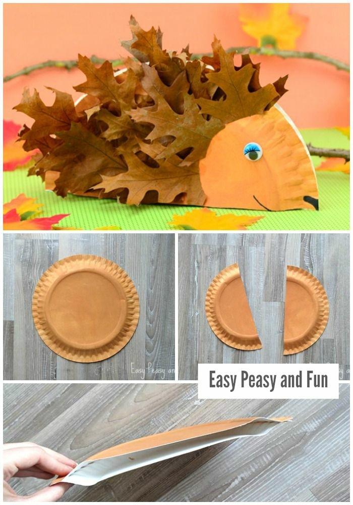 origineller Igel basteln aus braunem Pappteller, Schritt für Schritt Anleitung, Stacheln aus braunen Blättern