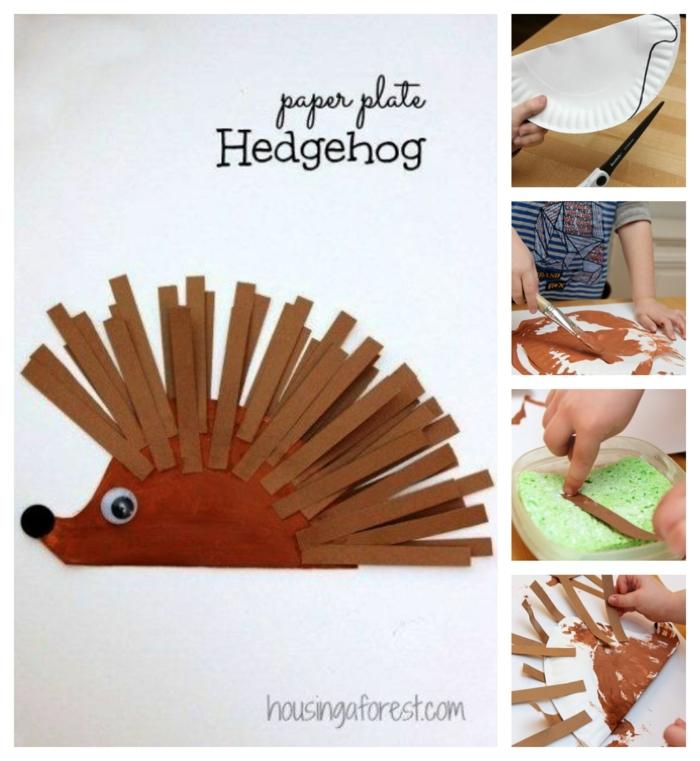 Igel basteln Pappteller mit Stacheln aus Papier, Schritt für Schritt DIY Anleitung, Bastelideen für Kinder