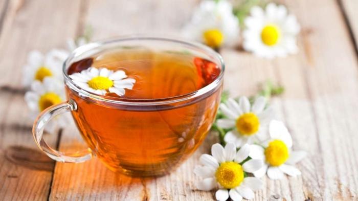 immunsystem stärken hausmittel, gesunder tee mit gänsenblümchen ud zitronen