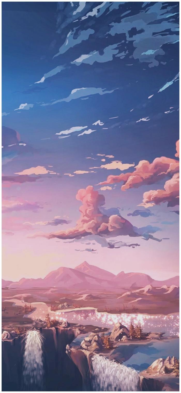 Aesthetic Anime Wallpaper, Zeichnung von Bergen und Wasserfälle, ästhetische Bilder für handyhintergrund