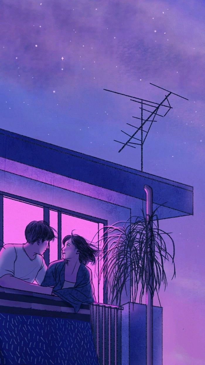 Mann und Frau sitzen auf einem Balkon, Aesthetic Anime Wallpaper, Sterne am Himmel, ästhetische Bilder für Handyhintergrund