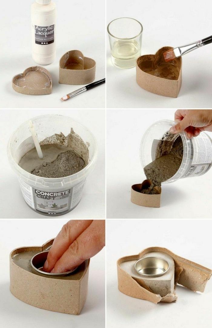 DIY Anleitung zum basteln von Kerzenhalter in Herzform, Betonarbeiten selber machen, Schritt für Schritt