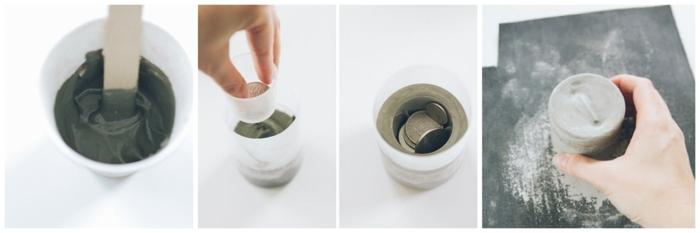 schwarzer Beton in einem weißen Becher, DIY Anleitung zu Kerzenhalter, Gefäße aus Beton selber machen