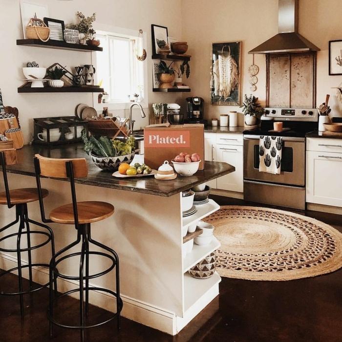 Design und Einrichtung im bohemischen Stil, großer runder Teppich, Kücheneinrichtung Ideen