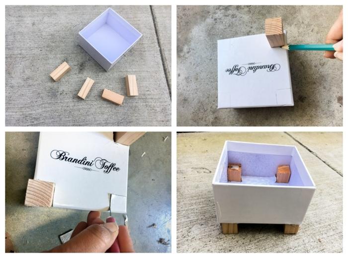 Pflanzkübel beton selber machen, kleine weiße Schachtel, Schritt für Schritt Anleitung für kleine Pflanze