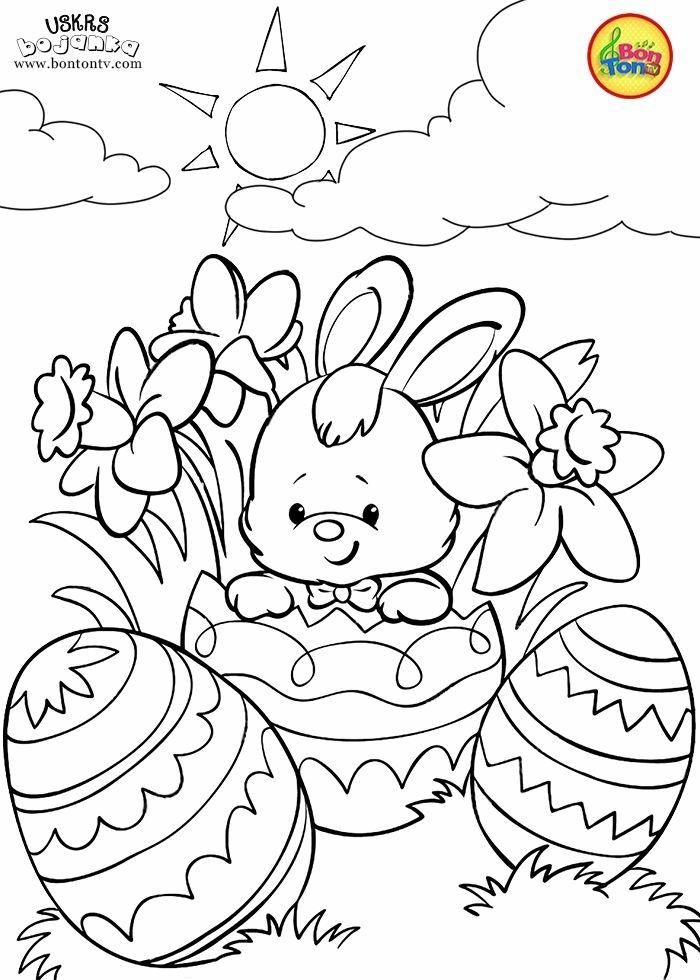 kleiner Hase sitzt in einem großen bemalten Osterei, noch zwei bemalte Ostereier, window color vorlagen
