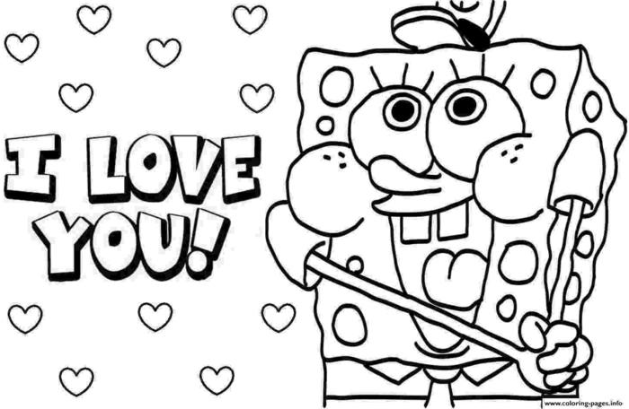 Bild von Spongebob Schwammkopf, I love you Inschrift, schöne Ausmalbilder zum ausdrucken