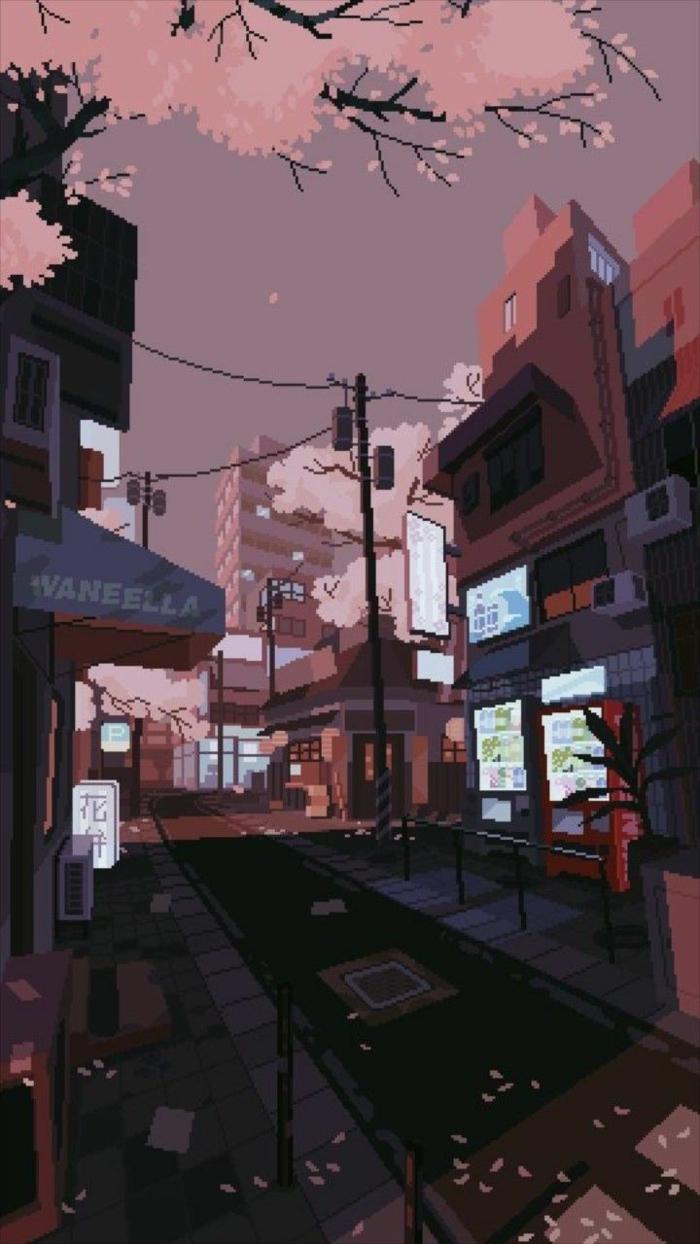 Aesthetic Anime Wallpaper, Stadt mit leeren Straßen, ästhetische Hintergrundbilder für Handy