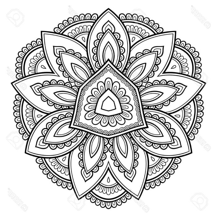 geometrisches Schaubild, Mandala zum Ausdrucken, Ausmalbilder für Erwachsene und Kinder