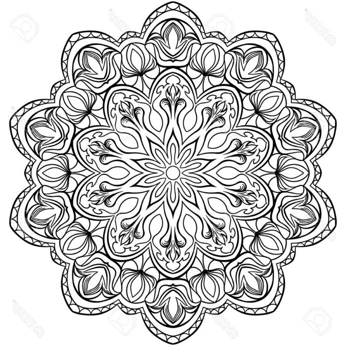schönes Mandala Muster kostenlos ausdrucken und ausmalen, Motiven von Blumen, geometrische Figuren