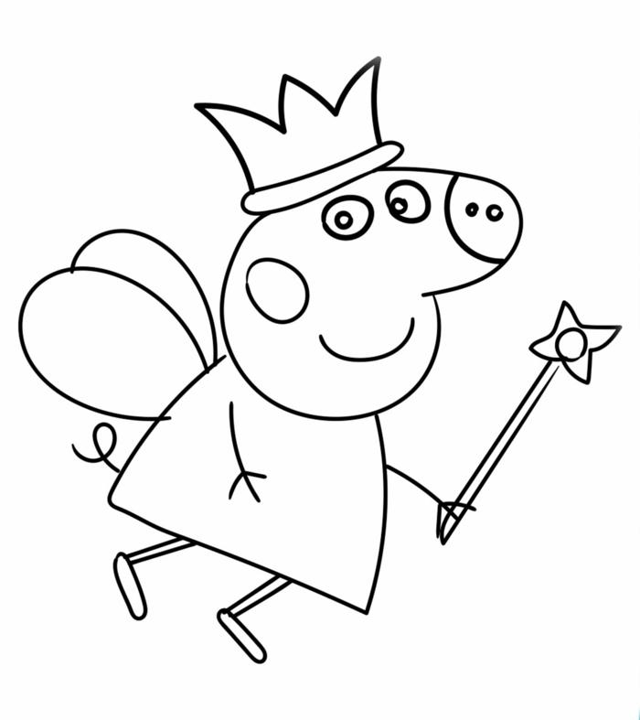 Peppa Wutz Ausmalbilder, Fee mit Flügel einer Krone und einem Zauberstab, Malvorlagen für Kinder