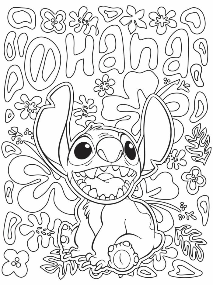Lilo und Stitch Film, Aufschrift von dem Wort Ohana, Ausmalbilder für Kinder, viele Blumen und verschiedene geometrische FIguren