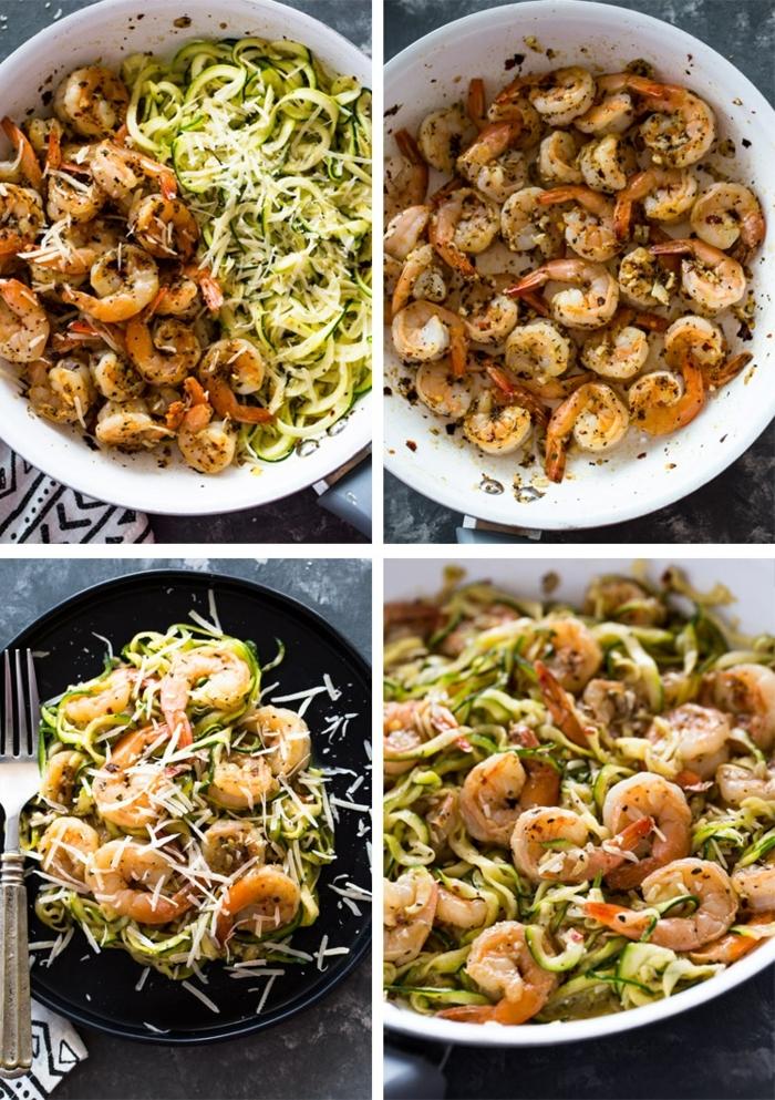 low carb zucchini, zudeln selber machen, rezepte mit garnelen, gesundes mittagessen