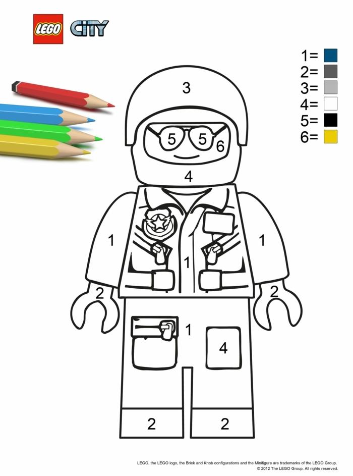 Lego City Figur, Pilot in Uniform und vielen Мedaillen, Vorschläge zum bemalen mit Farben, Blätter zum ausmalen