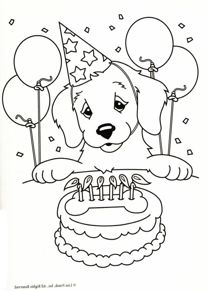 Party zum Geburtstag von einem Hund, trägt ein Partyhut, vier Luftballons, Torte mit angezündeten Kerzen, Malvorlagen Kinder