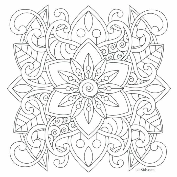 verschiedene Motive und Formen in einem Mandala Muster, schöne Bilder zum ausmalen