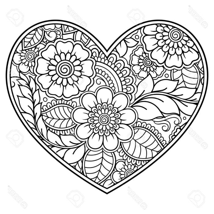 Mandala Muster in der Form eines großen Herzen, gemalte große und kleine Blumen mit Blätter