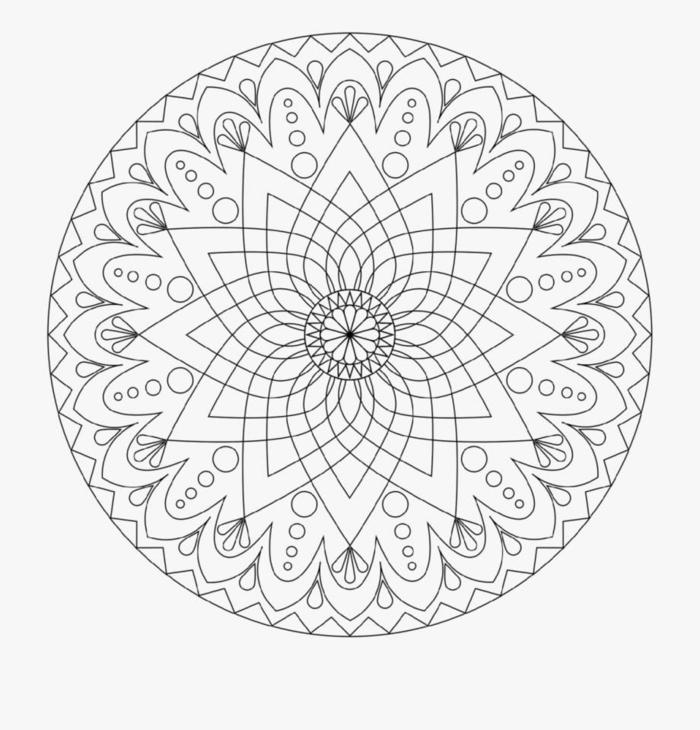 Mandala zum ausdrucken, verschiedenen geometrische Figuren, schöne Bilder zum ausmalen