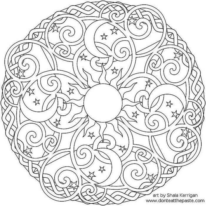 Mandala Muster mit Sonne und Halbmode und kleine Sterne, geometrisches Schaubild zum ausmaelen