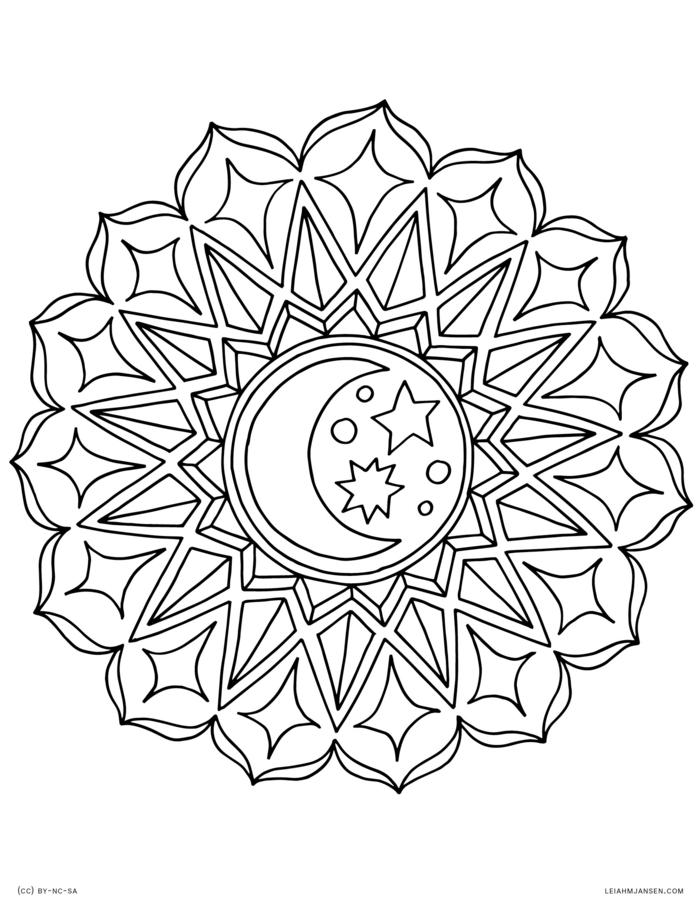 Halbmond und Sterne in der Mitte eines Kreises, Malvorlagen kostenlos zum ausmalen