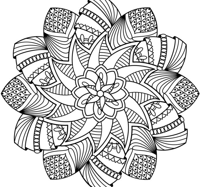 Mandalas für Kinder und Erwachsene, verschiedene Figuren und Formen, Blume in der Mitte