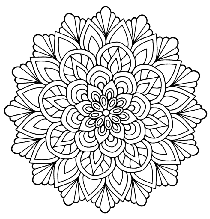 Mandala Malvorlagen kostenlos, Bilder zum ausmalen, geometrisches Schaubild mit verschiedenen Motiven