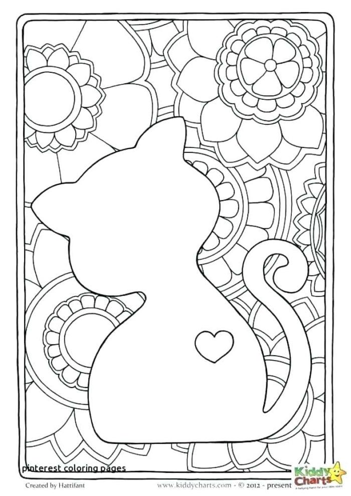 Ausmalbilder für Kinder mit Mandala Figuren und Blumen Muster, kleine Katze mit einem aufgemalten Herz