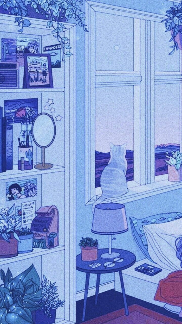 kleine Katze guckt aus einem Fenster, Regal mit vielen Fotos, aesthetic anime Wallpaper, ästhetische Tapete