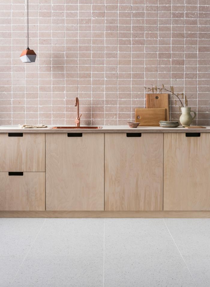 Monochrome Farbeinrichtung aus rosa, Minimalistische Einrichtung, Deko Ideen Küche