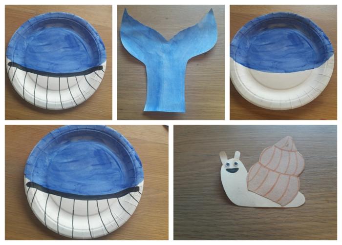 DIY Anleitung zum basteln von blauem Wal, Aquarium basteln mit Pappteller, Bastelideen für Kinder