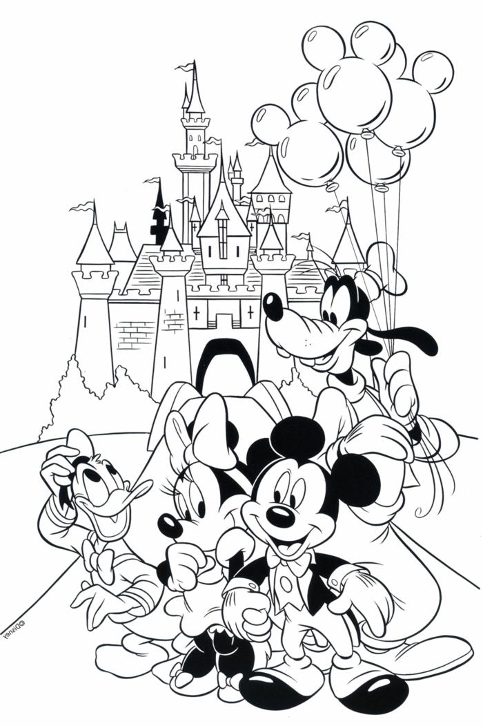 Mickey Mouse und Minnie Mouse, Goofy und Donald Duck vor dem Disney Schloss, vier Luftballons, Ausmalbilder für Kinder