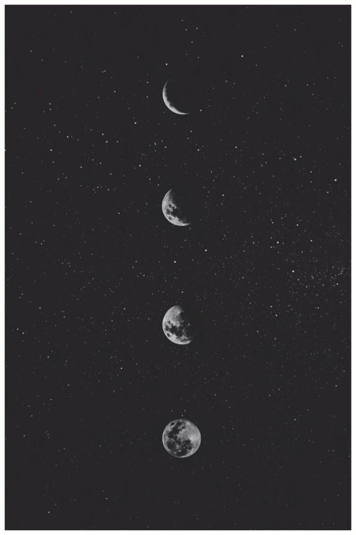 die verschiedenen Phasen von dem Mond, Vollmond und Halbmond, aesthetic wallpaper black