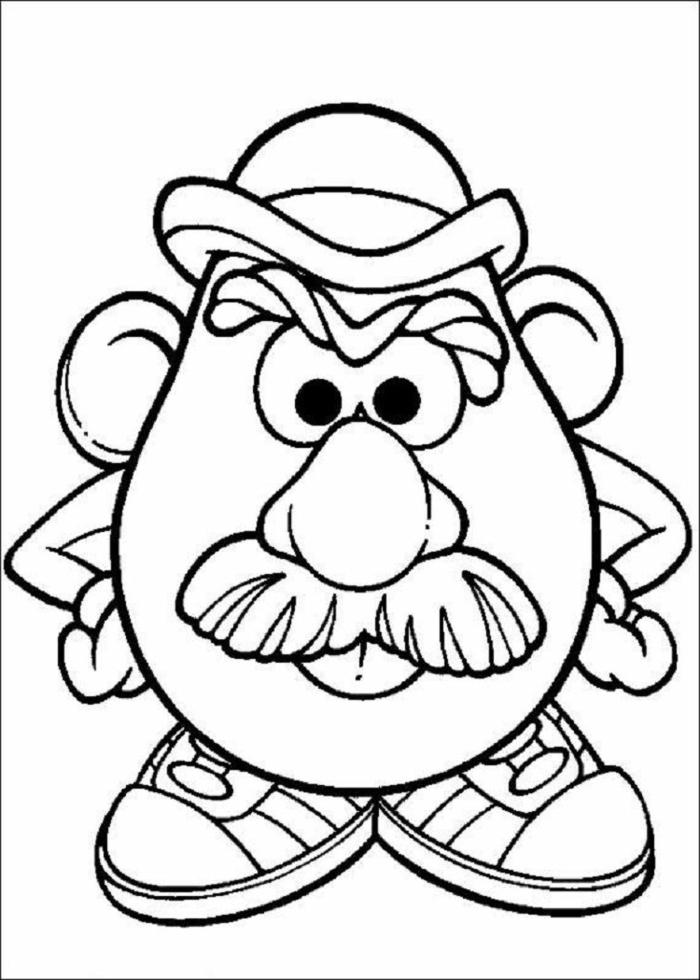 Toy Story Figur, Mister Potatoe Head, Herr Kartoffelkopg mit Hut und Turnschuhen, Ausmalbilder für Kinder