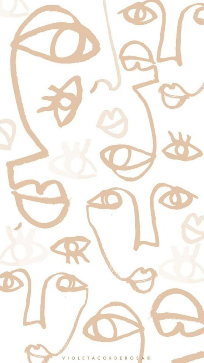 Zeichnungen von Augen Lippen und Nasen in neutralen Farben, Tumblr aesthetic background