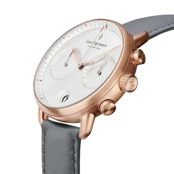 nordgreen uhren, luxuriöse geschenke, armbanduhr in weiß und grau