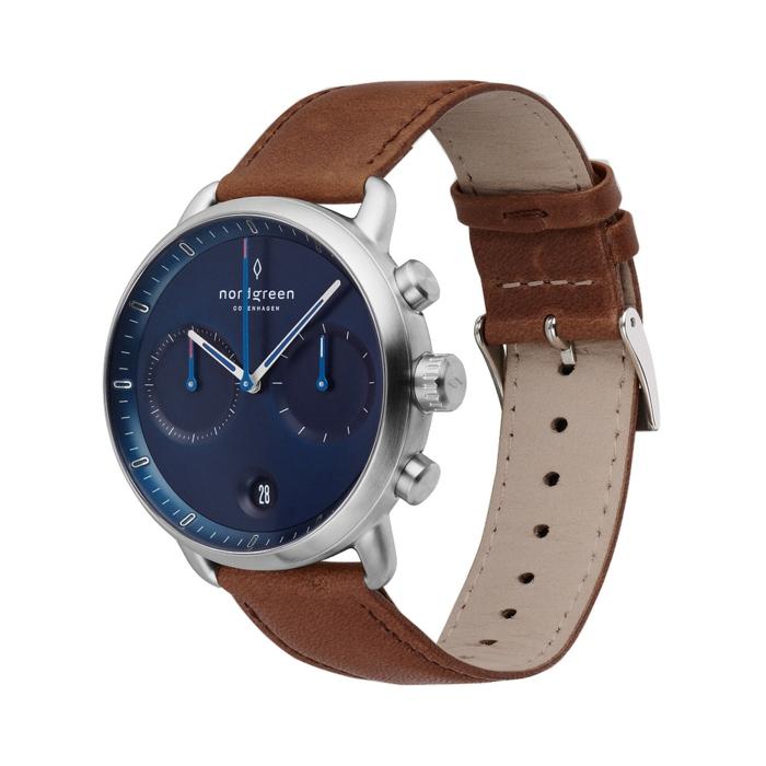 nordgreen kollention, der pioneer, armbanduhr in skandinavischem design, band aus braunem leder