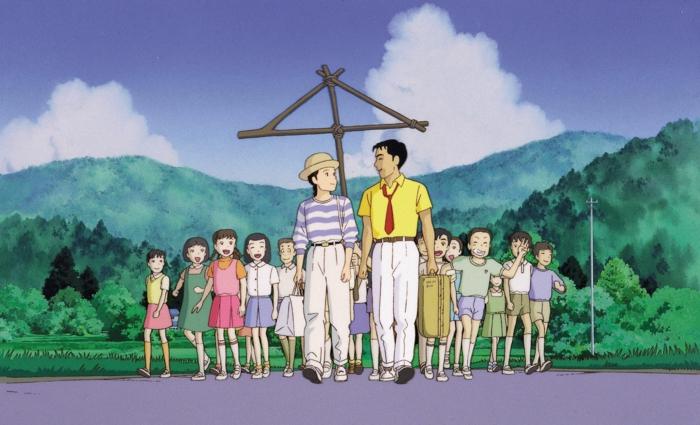 szene aus dem anime only yesterday, ein mann mit gelbem hemd und wei0en hosen und roter krawatte