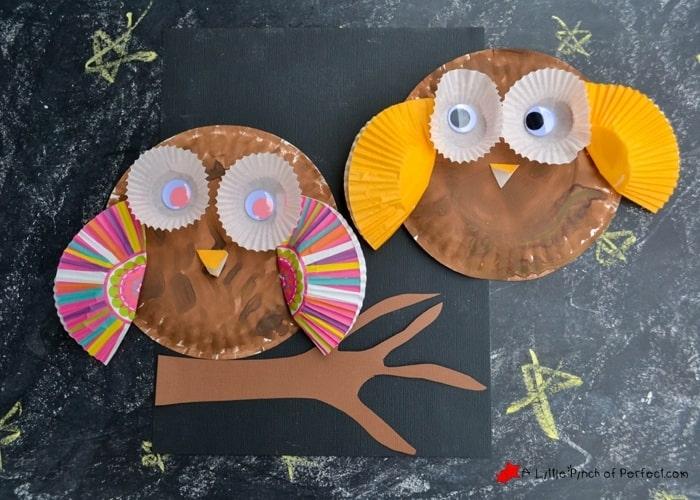 zwei eulen basteln aus Pappteller, Augen und Flügel aus Cupcake Zwischenlagen, leichte Bastelideen