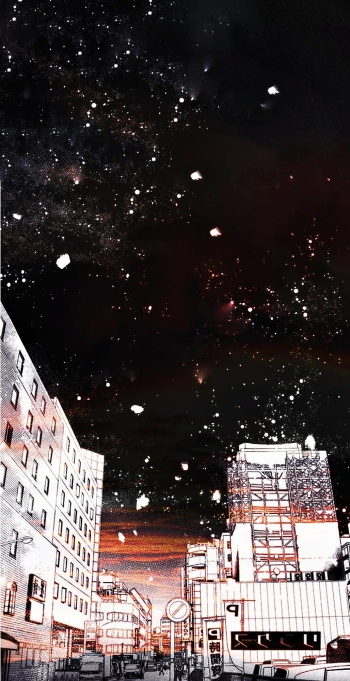 Aesthetic Anime Wallpaper, Stadt in der Nacht mit vielen Sternen, ästhetische Bilder