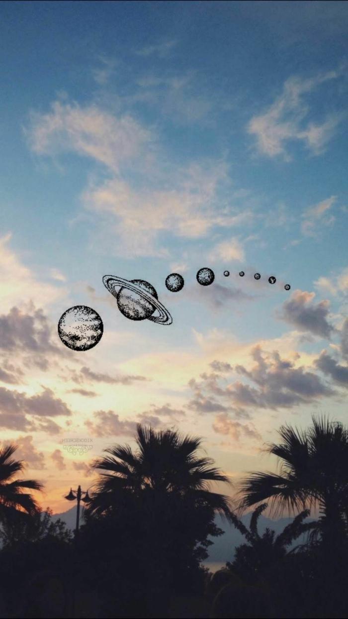 Himmel mit weißen Wolken, gezeichnete große und kleine Planeten, Tumblr aesthetic backgrounds