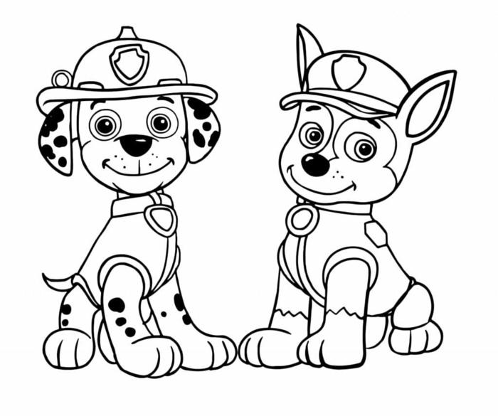 Paw Patrol, zwei kleine Hunde, Marschall und Chase, Dalmatiner und deutscher Schläferhund, window color vorlagen