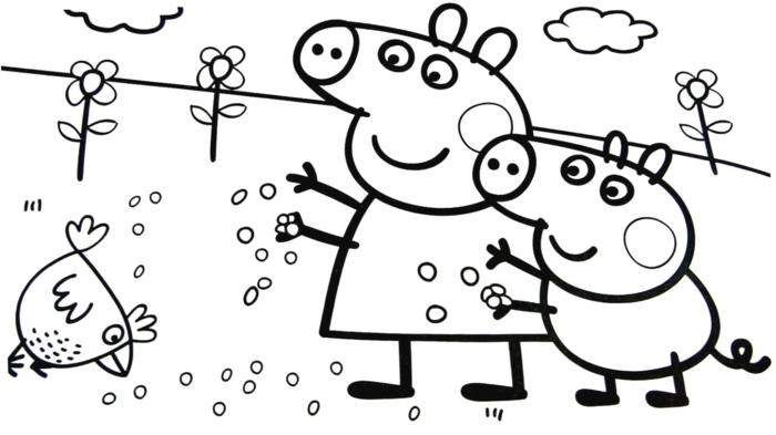 Mama Wutz und Peppa Wutz ausmalbilder, füttern ein kleines Küken, vier große Blumen