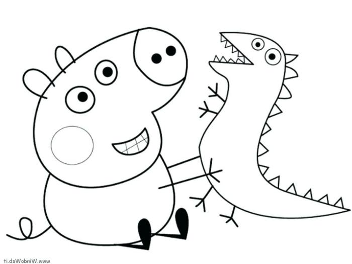 Peppa Wutz spielt mit einem kleinen Dinosaurier, ausmalbilder für Kinder,